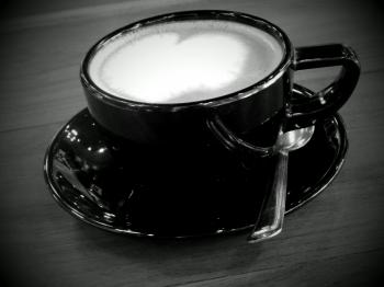 Coffee Heart Black and White