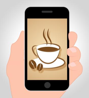 Coffee Online Shows Mobile Phone And Beverage