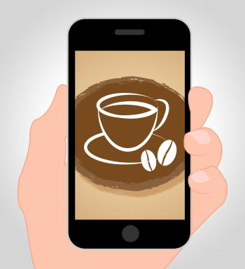 Coffee Online Shows Mobile Phone And Beverages