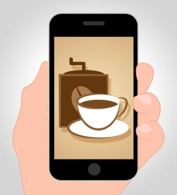 Coffee Online Shows Mobile Phone And Caffeine