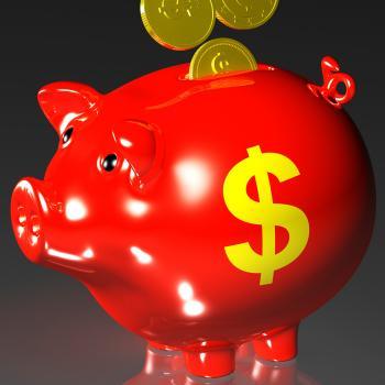 Coins Entering Piggybank Shows American Revenues