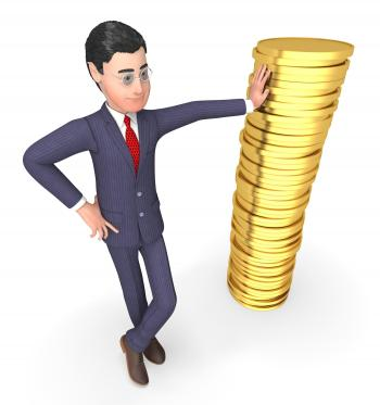 Coins Finance Means Business Person And Currency 3d Rendering