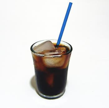 Cold drink with a straw