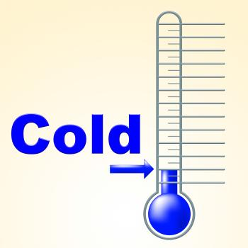 Cold Thermometer Indicates Thermostat Freeze And Freezing