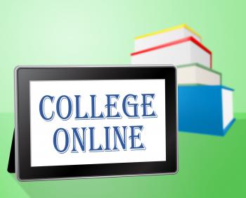 College Online Indicates Web Site And Books