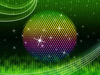 Colorful Ball Background Means Green Grid And Sparkles