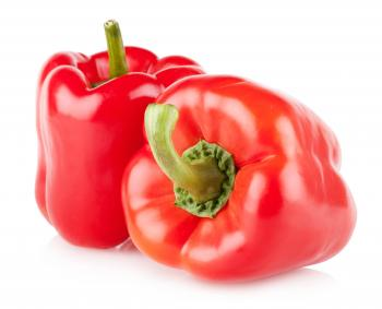 Colorful bell peppers isolated on white