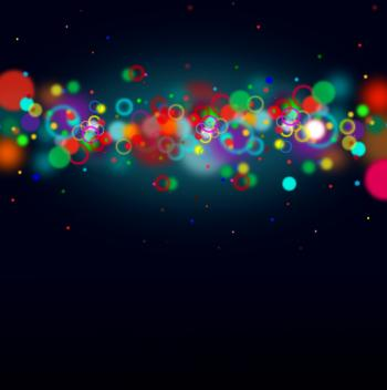 Colorful bokeh on dark blue background