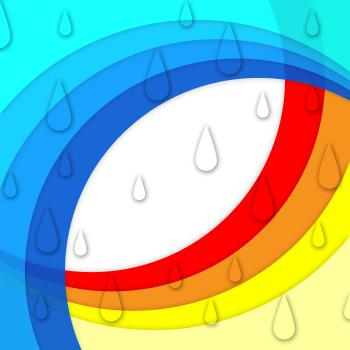 Colorful Curves Background Means Rainbow And Rain Drops