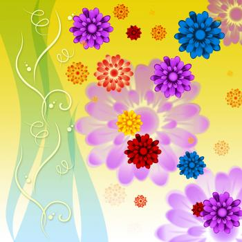 Colorful Flowers Background Means Petals Buds Ad Yellow