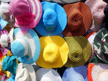 Colorful hat display