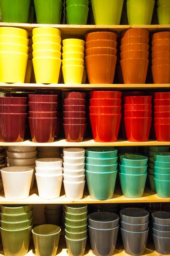 Colorful pots in shop