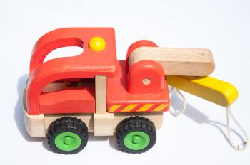 colorful wooden toy truck