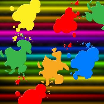 Colors Paint Shows Splashed Background And Splashing