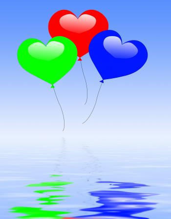 Colourful Heart Balloons Displays Wedding Feast Or Engagement Party