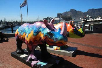 Colourful statues of rhinoceros