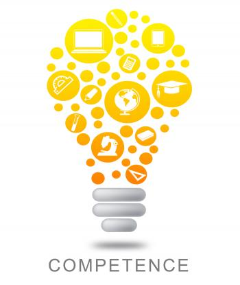 Competence Lightbulb Indicates Mastery Glowing And Glow