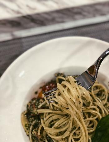 Cooked Pasta on White Ceramic Plate