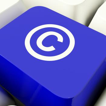 Copyright Computer Key In Blue Showing Patent Or Trademark