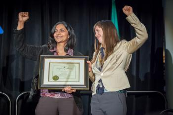 Councilmember Kshama Sawant with Nicole Grant