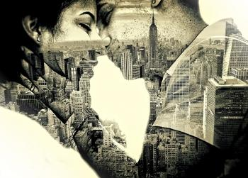 Couple in love Kissing over New York - Double Exposure Effect