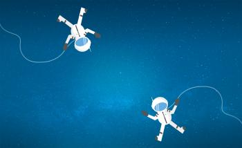 Couple of Cartoon Astronauts Drifting and Lost in Space - With Copyspa