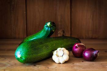 Courgette on wood background