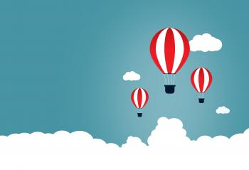Creative Start and Start-Up Concept with Hot Air Balloons