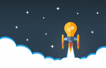 Creativity and Good Ideas Concept - Rocket Lightbulb