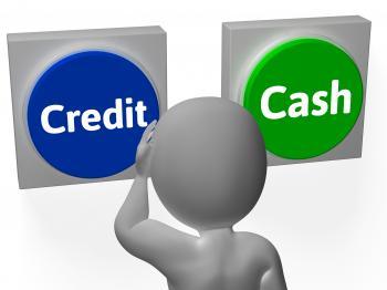 Credit Cash Buttons Show Cashless Shopping Sales