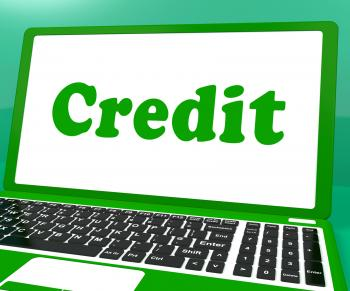 Credit Laptop Shows Finance Or Loan For Purchasing