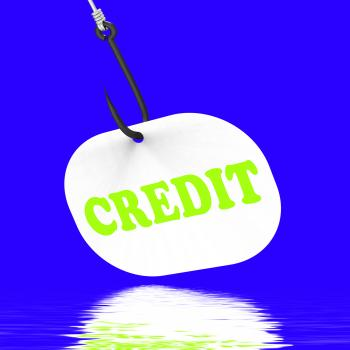 Credit On Hook Displays Financial Loan Or Bank Money