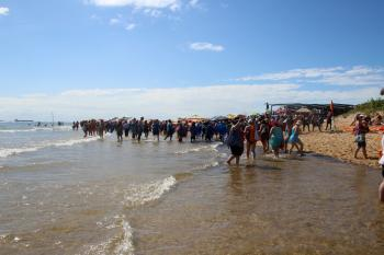 Crowd on the sandy beach