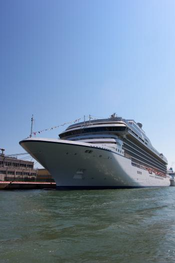 Cruise ship in port - side view