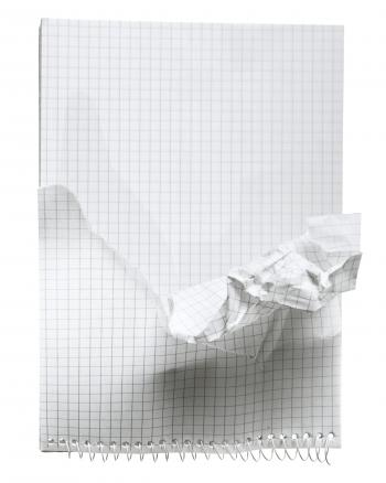 crumpled notebook