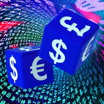 Currencies Dice On Background Shows Forex
