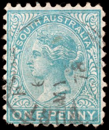 Cyan Queen Victoria Stamp