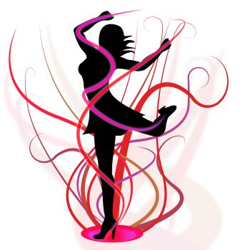 Dancing Aerobics Means Young Woman And Girl