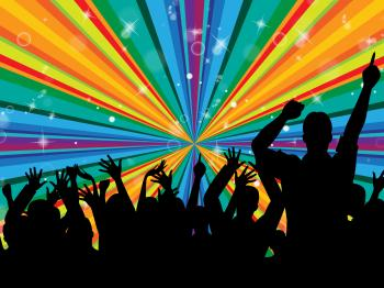 Dancing Disco Indicates Radiance Beam And Cheerful