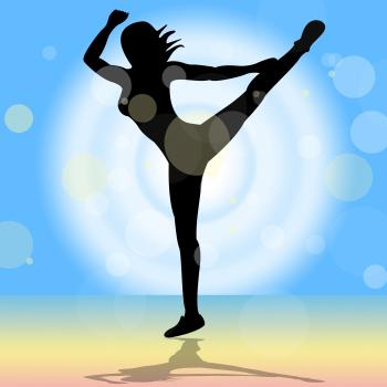 Dancing Yoga Shows Enlightenment Meditated And Calm