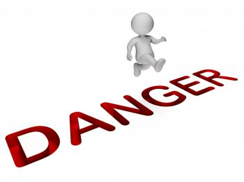 Danger Character Represents Climb Over And Cautious 3d Rendering