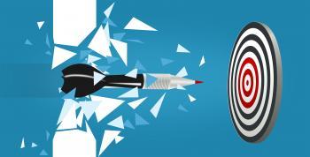 Dart Blasting Through Barrier - Purpose and Focus Concept