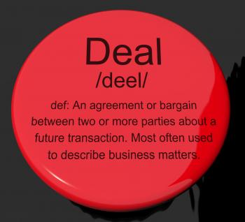 Deal Definition Button Showing Agreement Bargain Or Partnership