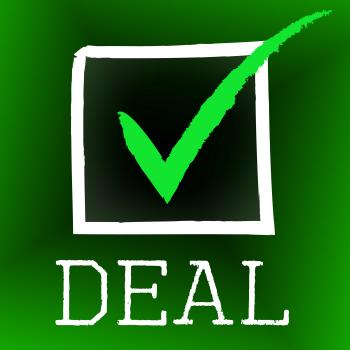 Deal Tick Indicates Hot Deals And Bargain