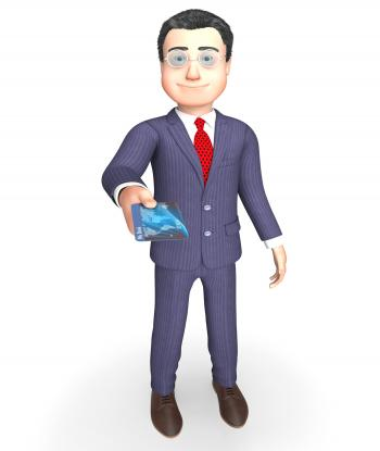 Debit Card Represents Business Person And Banking 3d Rendering