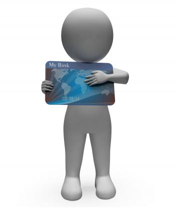 Debit Card Represents Cashless Buyer And Debt 3d Rendering