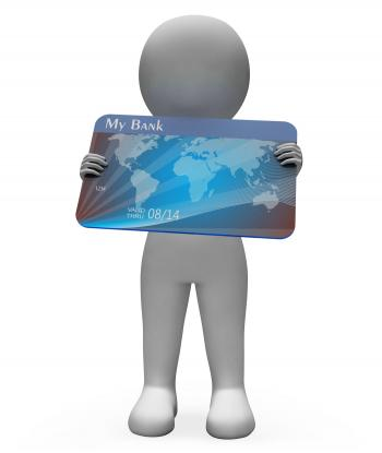 Debit Card Shows Credit Cards And Bank 3d Rendering