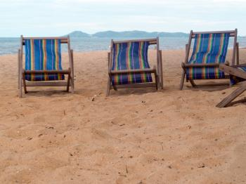 Deckchairs on a Tropical Beach