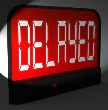 Delayed Digital Clock Shows Postponed Or Running Late