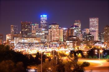Denver Skyline at Night (Historical)